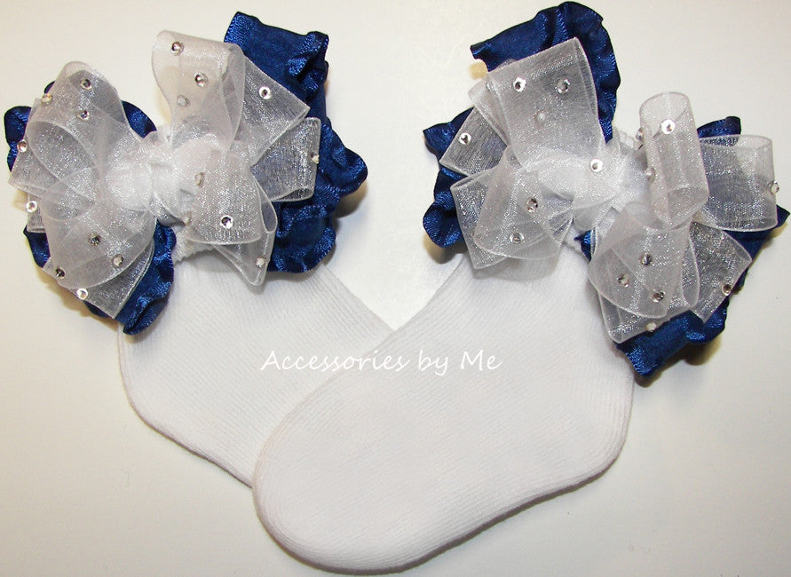 Glitzy White Navy Blue Organza Ruffle Bow Socks - Accessories by Me