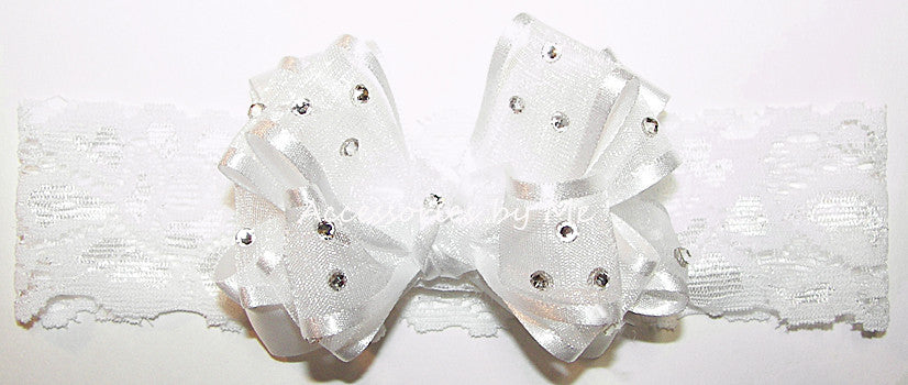 Baptism Glitzy White Organza Bow Lace Headband - Accessories by Me