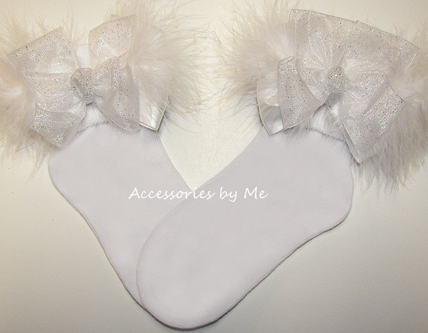 Glitter White Organza Marabou Bow Socks - Accessories by Me