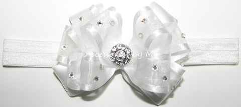 Glitzy White Organza Satin Bow Headband