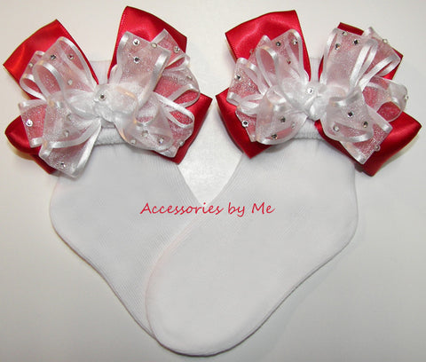 Glitzy White Red Bow Socks