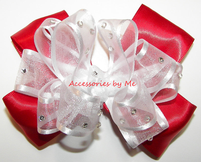 Glitzy White Red Organza Satin Hair Bow - Accessories by Me