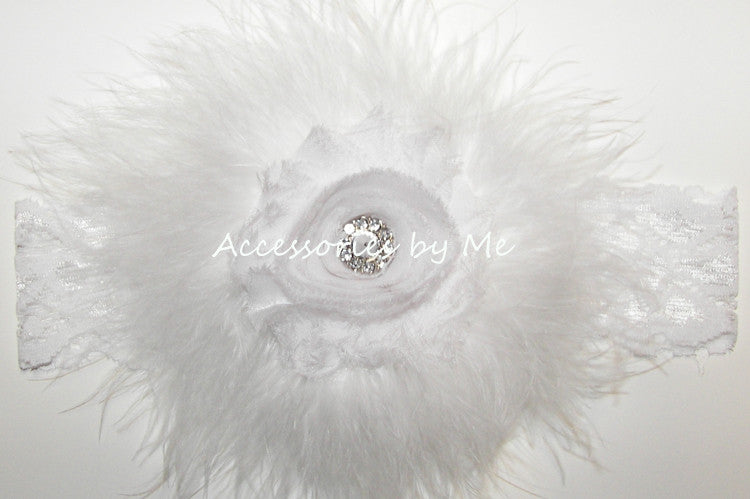 Frilly White Shabby Rose Marabou Bow Headband - Accessories by Me