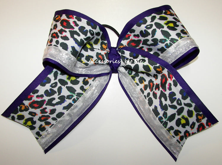 Sparkly Leopard Purple White Cheer Bow