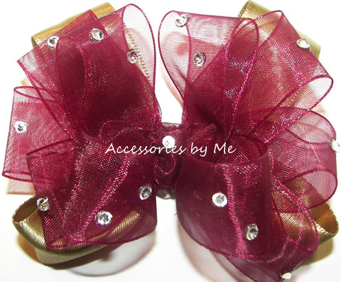 Glitzy Wine Gold Organza Satin Hair Bow