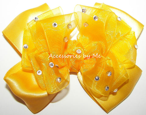 Glitzy Yellow Gold Organza Satin Hair Bow