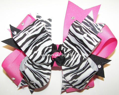 Glitzy Zebra Black Hot Pink Funky Hair Bow for Girls