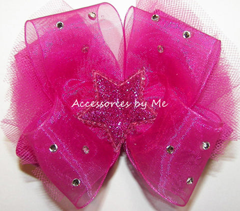 Glitzy Shocking Pink Tutu Star Hair Bow