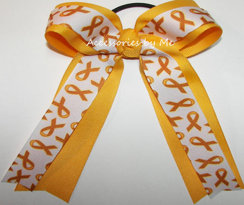 Childhood Cancer Yellow Ribbon Ponytail Bow