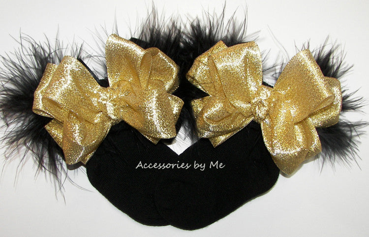 Glitzy Gold Black Marabou Bow Socks