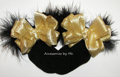 Glitzy Gold Black Marabou Feathers Bow Socks