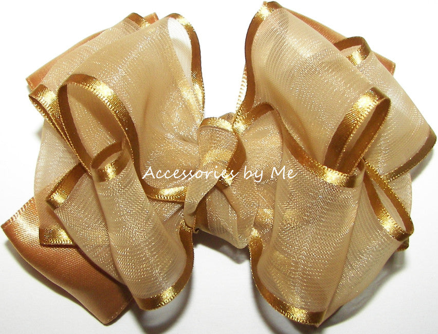 Gold Organza Satin Trim Hair Bow