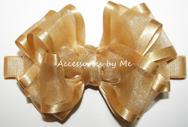 Gold Organza Satin Trim Bow Headband