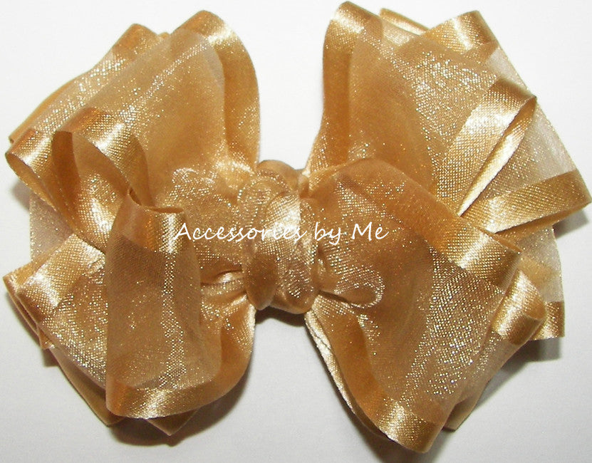 Gold Pale Ale Organza Satin Hair Bow