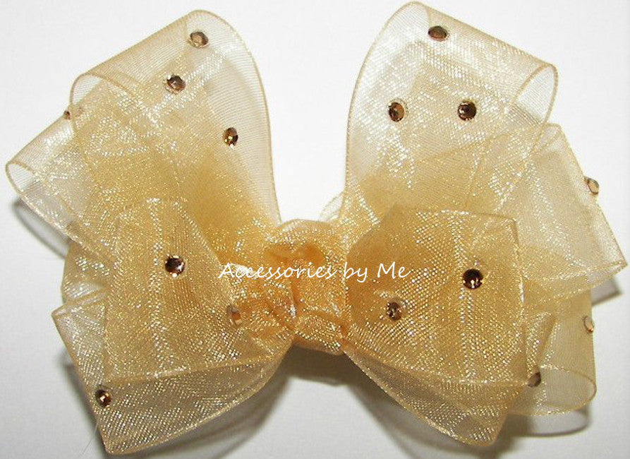 Glitzy Gold Organza Hair Bow - Accessories by Me