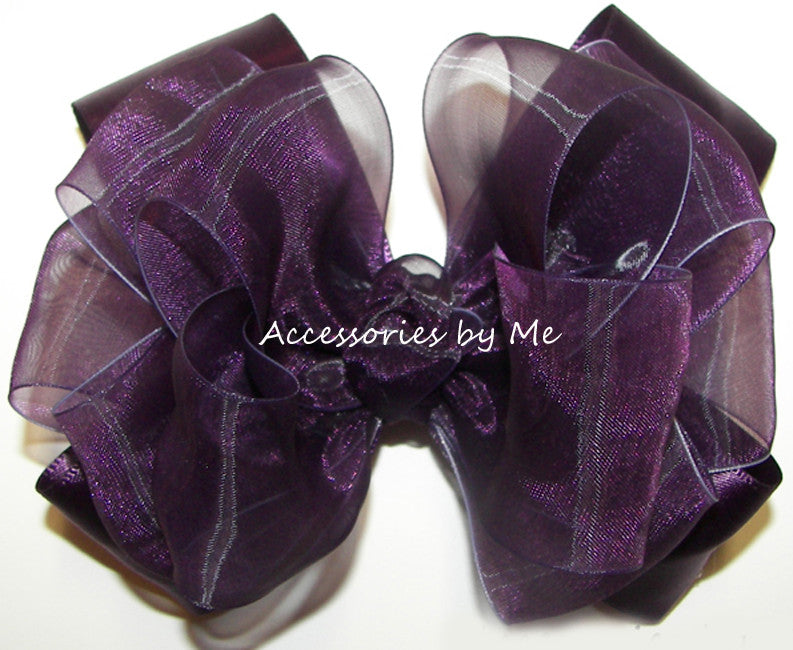 Plum Organza Satin Hair Bow