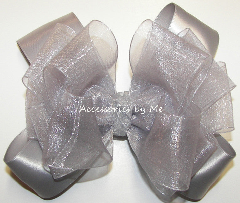 Silver Organza Satin Hair Bow