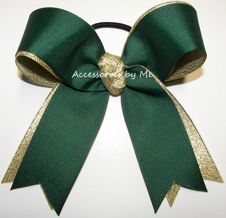Forest Green Gold Metallic Ponytail Holder Hair Bow - Accessories by Me