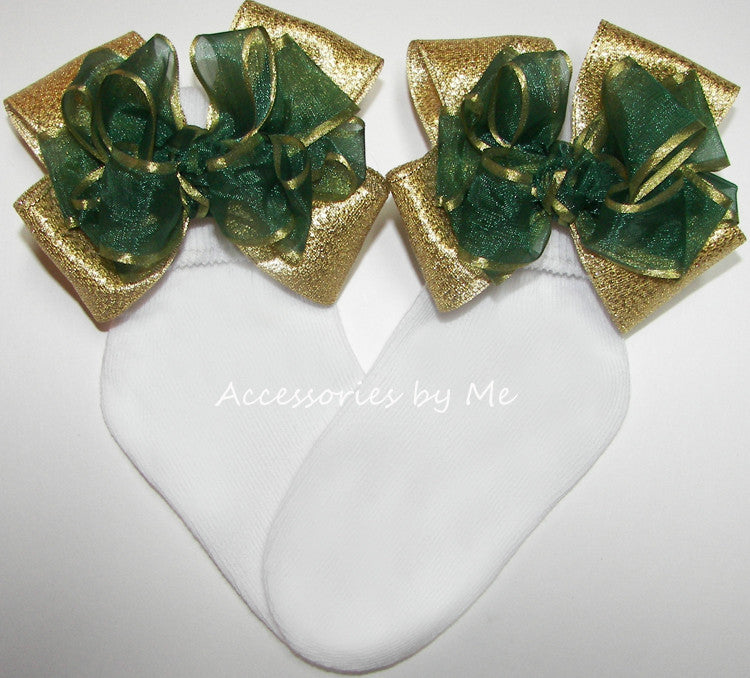 Green Gold Organza Metallic Bow Socks