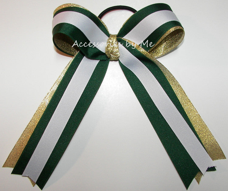 Green Gold White Ponytail Holder Sports Bow - Accessories by Me