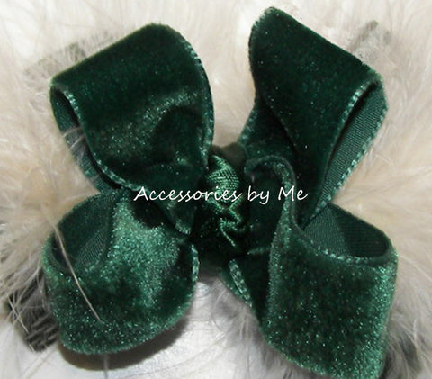 Green Velvet Ivory Marabou Hair Bow
