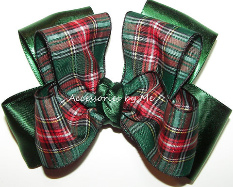 Tartan Green Plaid Satin Hair Bow