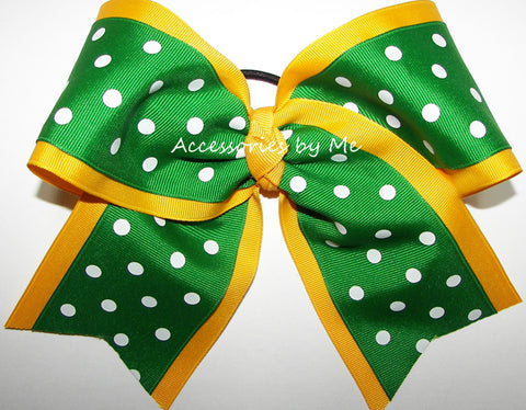 Yellow Gold Green Polka Dot Big Cheer Bow