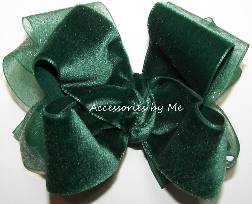 Green Velvet Glitter Organza Hair Bow - Accessories by Me