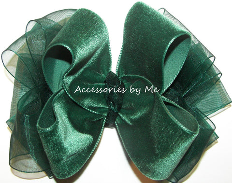 Green Velvet Organza Hair Bow