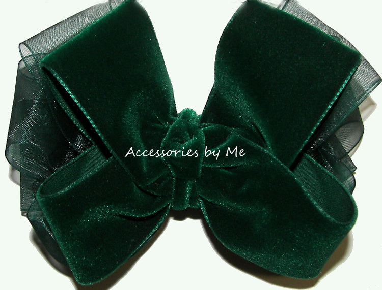 Forest Green Velvet Organza Hair Bow