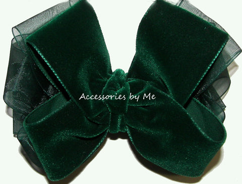 Christmas Green Velvet Organza Hair Bow