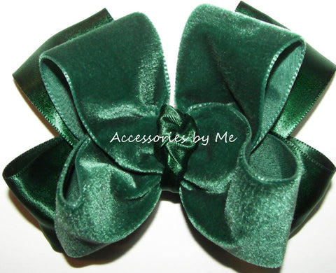Green Velvet Satin Hair Bow