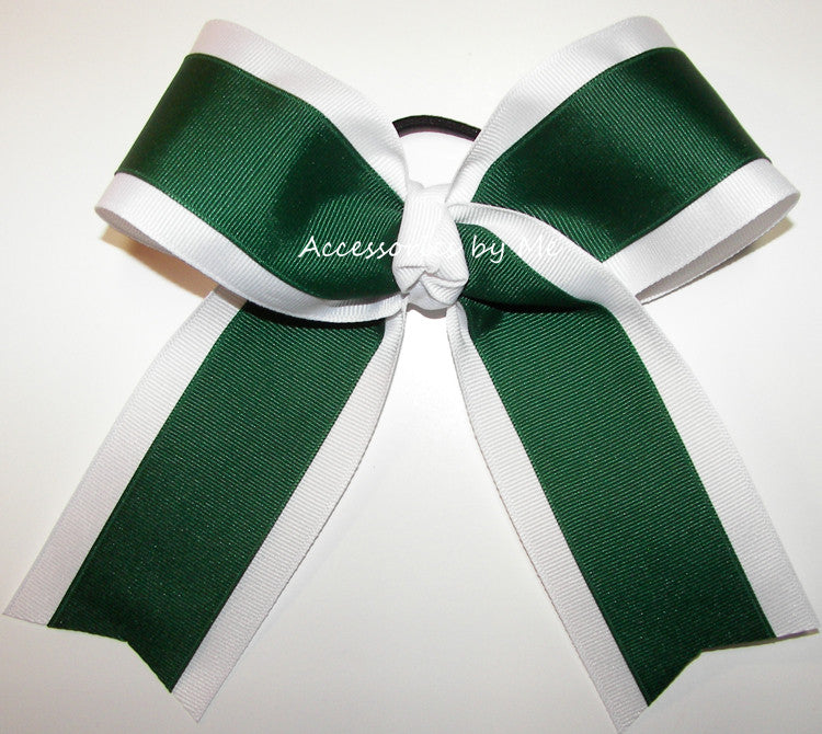 Green White Ponytail Holder Cheer Bow