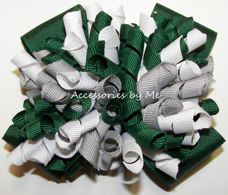Korkers Green Gray White Cheer Hair Bow - Accessories by Me