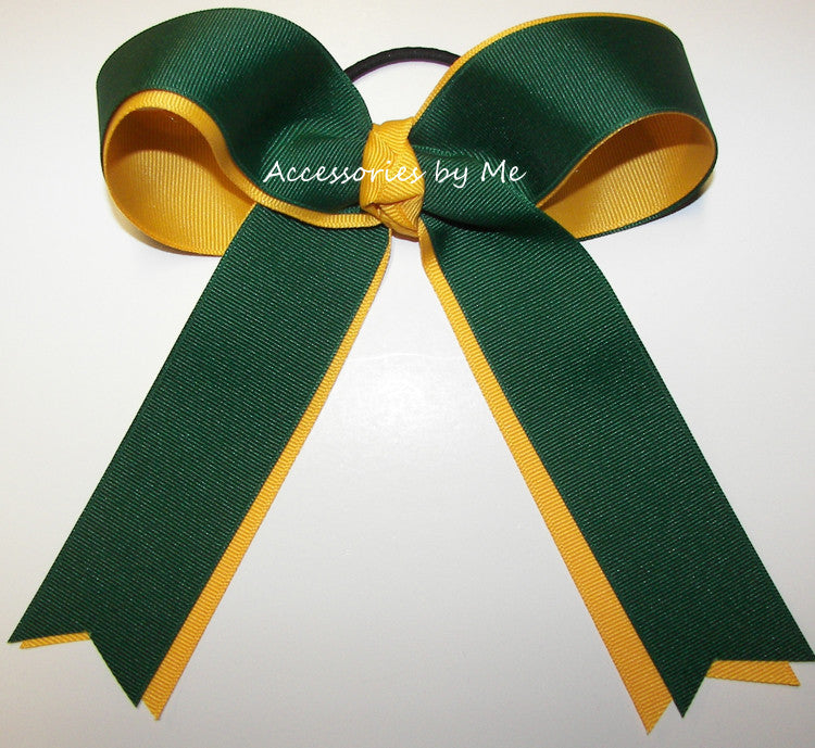 Green Yellow Gold Ponytail Holder Bow