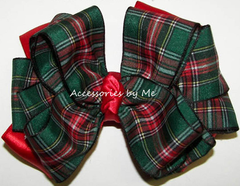 Green Tartan Plaid Red Satin Hair Bow