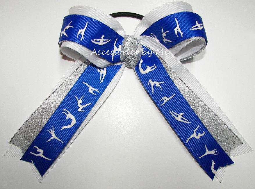 Gymnastics Royal Blue White Silver Ponytail Holder Hair Bow - Accessories by Me