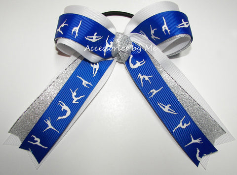 Gymnastics Royal Blue White Silver Ponytail Holder Hair Bow