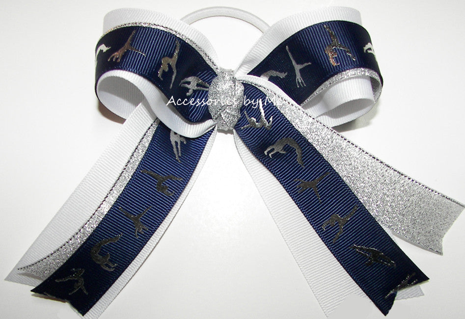 Gymnastics Navy Blue White Silver Ponytail Holder Hair Bow