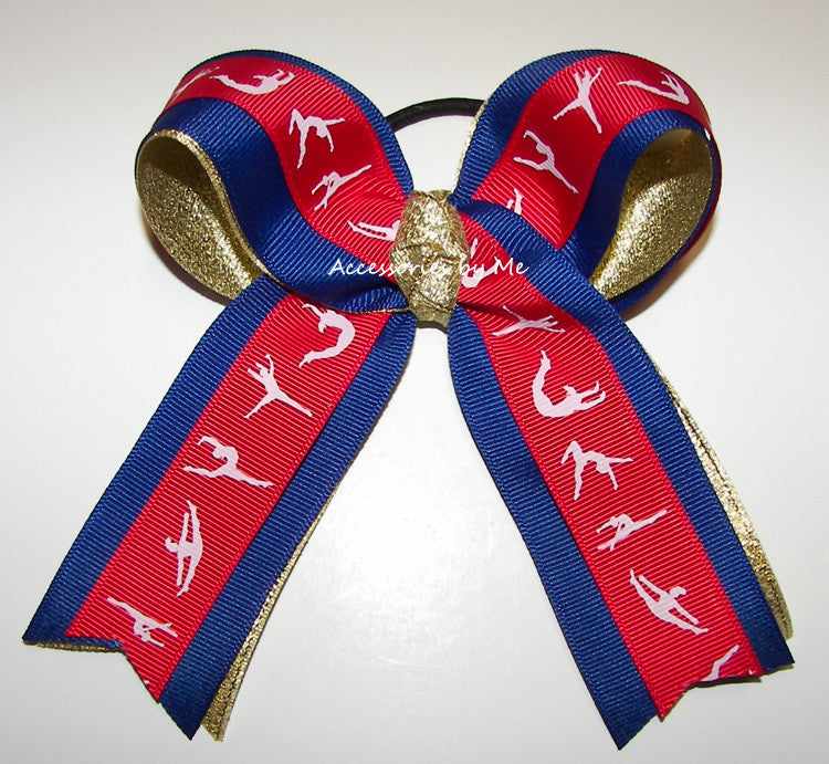 Gymnastics Ribbon Red Blue Gold Ponytail Holder Hair Bow - Accessories by Me
