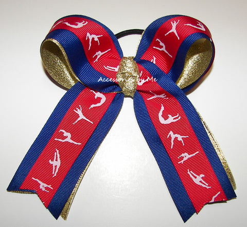 Gymnastics Red Blue Gold Ponytail Holder Bow
