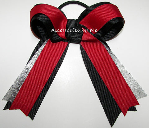 Gymnastics Red Black Silver Ponytail Holder Hair Bow