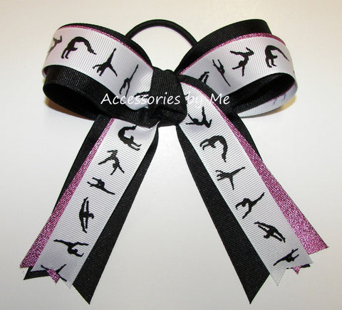 Gymnastics Hot Pink Black Ponytail Holder Bow