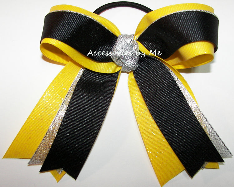 Gymnastics Black Silver Yellow Glitter Bow