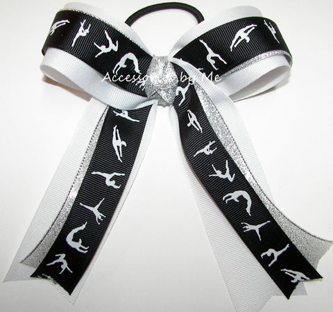 Gymnastics Black White Silver Ponytail Holder Hair Bow