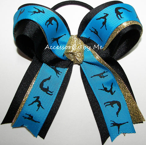 Gymnastic Blue Black Gold Sparkly Ponytail Bow