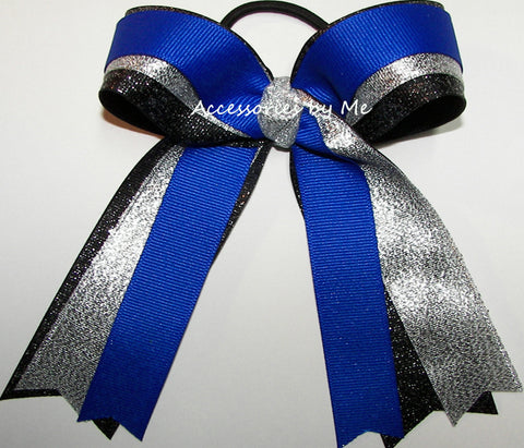 Gymnastics Blue Black Silver Ponytail Hair Bow