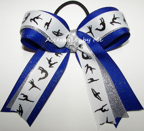 Gymnastics Royal Blue Silver Glitter Ponytail Bow