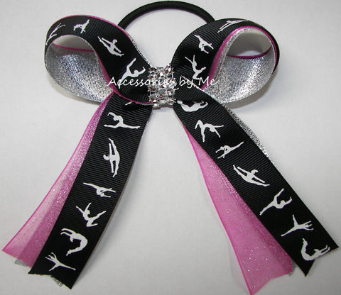 Gymnastics Hot Pink Silver Ponytail Bow