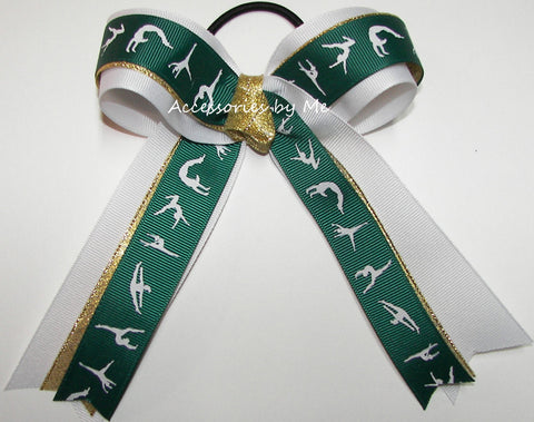 Gymnastics Green White Gold Ponytail Holder Hair Bow